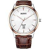 BUREI Classic, Reloj de Cuarzo para Hombre, Esfera Grande con anología y Calendario. Correa de...