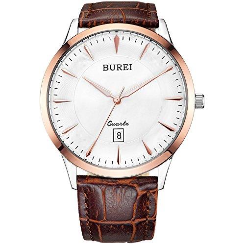 BUREI Herren Uhren Elegante Quarz-Armbanduhr Japanische Quarzwerk-Schutz-Minerallinse Analoges mit Datum