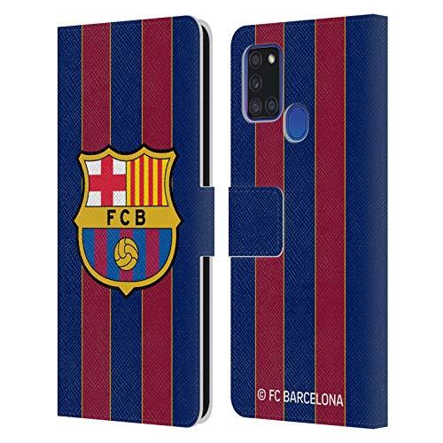 Head Case Designs Licenciado Oficialmente FC Barcelona Casa 2020/21 Kit de Cresta Carcasa de Cuero Tipo Libro Compatible con Samsung Galaxy A21s (2020)