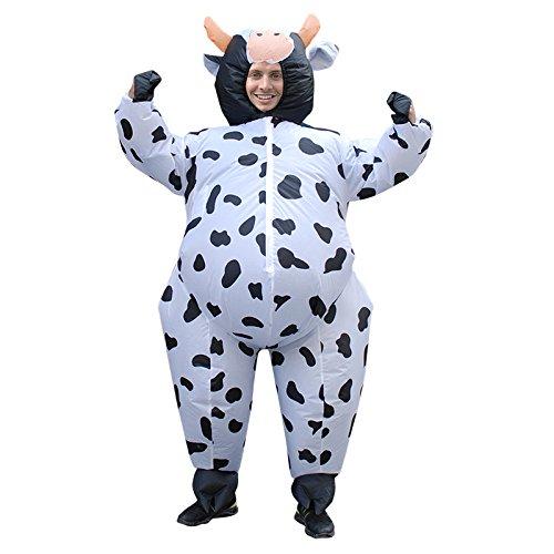 RENS Divertida ropa inflable, disfraz de vaca lechera de dibujos animados, interesante parodia cosplay disfraz de caminar rendimiento