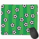 Soccer Balls On Green Lawn of Football Field Funny Mouse Pad with Stitched Edges Non-Slip Rubber Base Desk Mat Mousepad Gaming Mouse Pads for Laptop, Computer & PC Work Home