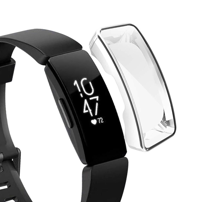 それにもかかわらず食堂マウスFitbit Inspire/Fitbit Inspire HRスマートウォッチスクリーンプロテクターに対応、ソフトTPUメッキ保護ケースフルカバー頑丈な軽量フレームアクセサリー飛散防止 (銀)