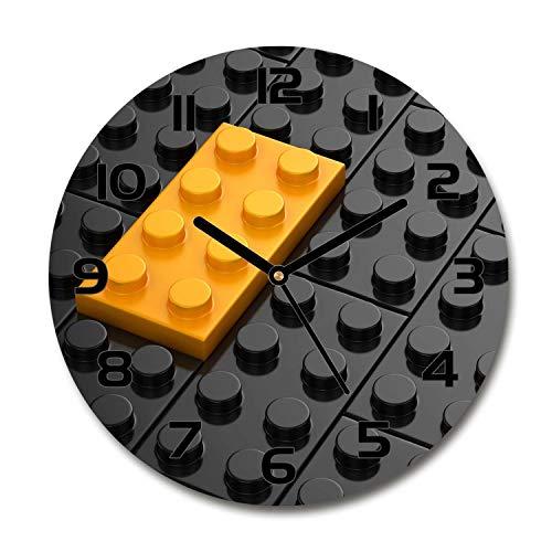 Tulup Reloj De Pared De Vidrio Redondo 30cm Silenciosa Grande Original Moderno Decorativo Manecillas Negras - Piezas De Lego