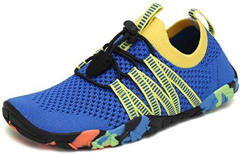 SAGUARO Zapatos de Agua Niños Escarpines Piscina Secado Rápido Niñas Zapatos de Natacion Respirable Antideslizante Escarpines para Acuáticos Snorkel Vela, Marino Azul, 33 EU