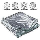 Iook Lona Transparente, Lona Impermeable Exterior, Borde Transparente Engrosado Perforado Plástico Impermeable Lona Impermeable Pergola Jardín Piscina con Ojales 520 G/M²,1.4mX3m/9.8x4.6ft