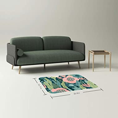 EGGDIOQ Doormats Green Leaves and Flower Custom Print Bathroom Mat Waterproof Fabric Kitchen Entrance Rug, 23.6 x 15.7in