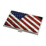 Madreperla bandera estrellas y rayas himno nacional de negocios nombre DNI estuche Slim bolso Metal acero inoxidable grabado bolsillo efectivo billetera