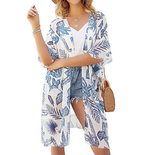 Damen Lang Floral Kimono Cardigans - Lange Floral Cardigans vertuschen Chiffon Print Loose Shaw Beachwear Boho Summer Casual Bluse Badebekleidung (White-B, Small)