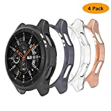 Hianjoo 4 Piezas Funda Compatible con Samsung Galaxy Watch 46mm / Gear S3 Frontier, Suave Cubierta TPU Silicona Carcasa Resistente Rasguños Protectora Transparente,Negro,Oro Rosa,Espacio Gris