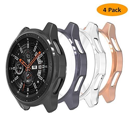 Hianjoo 4 Pack Custodia Compatibile per Samsung Galaxy Watch 46mm/Gear S3, Antiurto TPU Protezione Cover Compatibile per Galaxy Watch 46mm/Gear S3 - Trasparente,Nero,Oro Rosa,Grigio Spazio