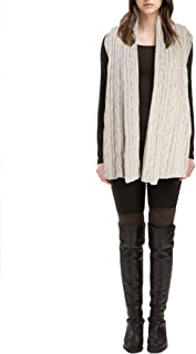 Look By M. Women's Draped Cable Knit Shawl Vest