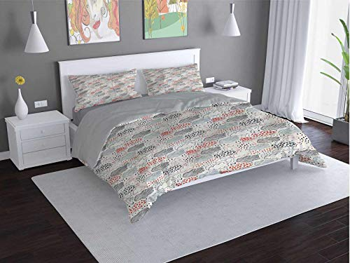 Toopeek Umbrella 100% washed microfiber bed set Ornate-Clouds-Downpour Super soft and breathable duvet cover (King)