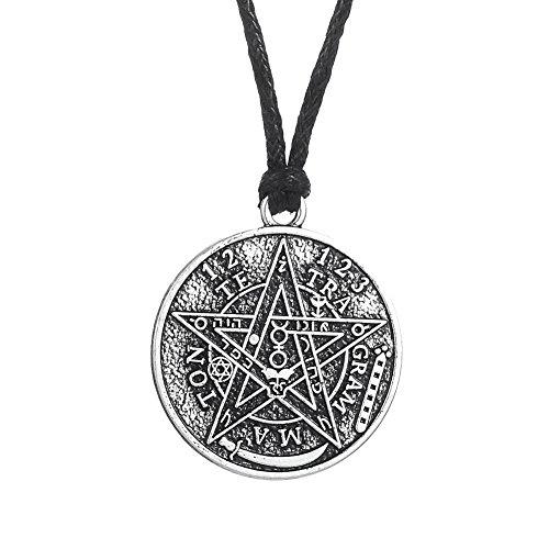Hebrew Tetragrammaton Goetia Hermético Kabbalah Pentáculo Colgante Collar para Hombre