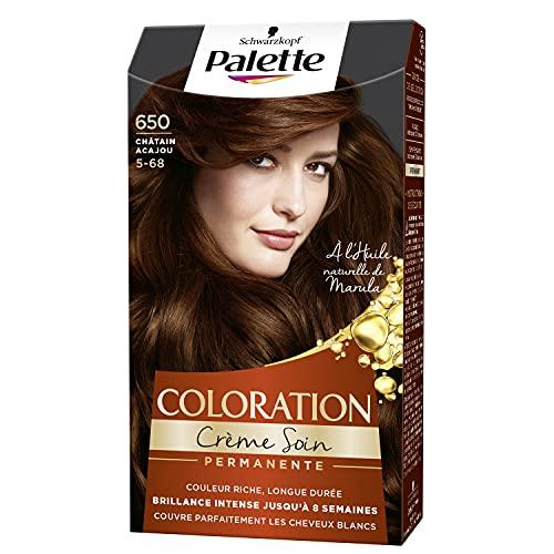 Schwarzkopf - Palette - Coloration Permanente Cheveux - Crème Soin - Couvre 100% des Cheveux Blancs - Tenue 8 semaines - Chatain Acajou 650
