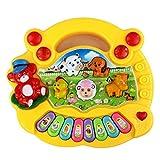 Ogquaton Educación temprana de 1 año de edad de juguete de bebé animal granja piano música desarrollo juguetes bebé instrumento musical para niños y niños niños y niñas amarillo práctico y popular