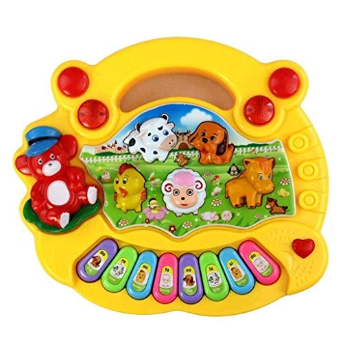 OgquatonFrüherziehung 1-jährige Babyspielzeug Animal Farm Piano Music Entwicklungsspielzeug Baby-Musikinstrument für Kinder u0026 Kinder Jungen und Mädchen Gelb Langlebig und nützlich