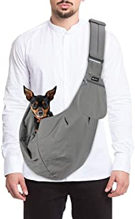 SlowTon Pet Carrier, Doggie Cat Hand Free Sling Carry Dog Papoose Carrie Adjustable Padded Shoulder Strap Tote Bag with Fr...