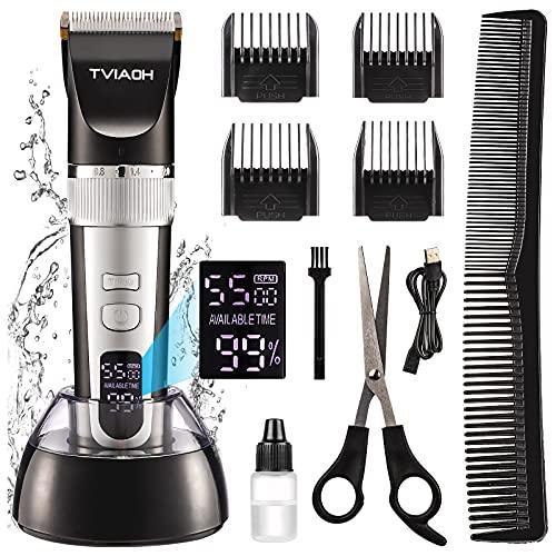 Tondeuse Cheveux Hommes, Tondeuse Cheveux Professionnelle sans Fil, Tondeuse à Barbe Rechargeable Batterie 2200mAh Indicateur LED