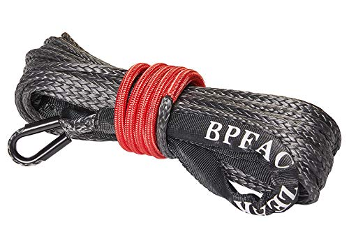 ZEAK 3/16'' x 49' Black Synthetic Winch Rope 4000 lbs Breaking Strength for ATV winches