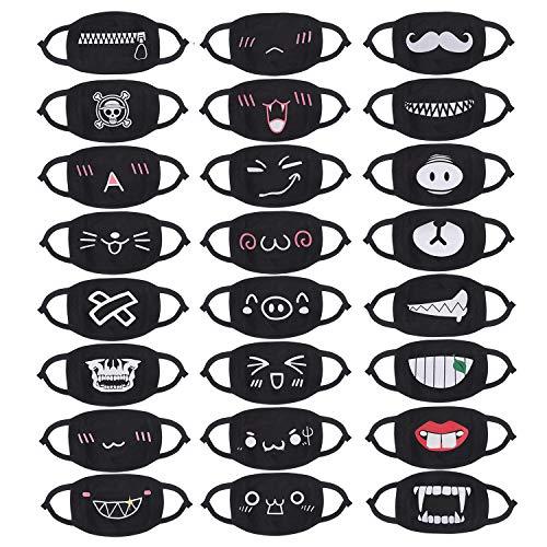 24pcs (Style) Mouth Mask Black Cartoon Mouth Mask Kawaii Cotton Mask, Unisex