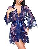 Avidlove Damen Dessous Kimono Kurz Spitze Kleid Gown Weiter Ärmel Transparente Robe Kurz Mesh Bikini Cover up Spitze Sommer Bat mit Gürtel und G-String blau L