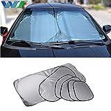 Coche UV Cubierta 6 Unids/Set Auto Plegable Sombrilla Parasol Sombrilla Parabrisas Visor Cubierta Delantera Ventana Trasera Protección UV Película Protectora