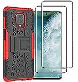 FANFO® Custodia per Xiaomi Redmi Note 9S/9 PRO/9 PRO Max, 2 in 1 Resistente Hybrid Dual Layer Armatura Defender PC + TPU Cover con Cavalletto Integrato, Rosso + Pack di 2 Protezioni Schermo