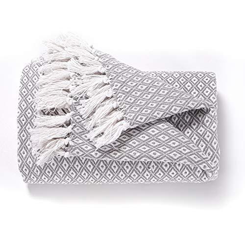 EHC Super Soft Cotton Große Überwurfabdeckungen Bis zum 2-Sitzer-Sofa oder Doppelbett - Grau