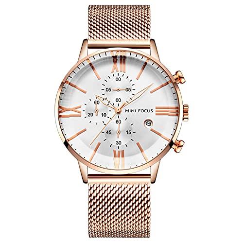 JTTM Relojes para Hombres,Impermeable Cronógrafo Correa De Acero Inoxidable Analógico De Cuarzo Relojes De Pulsera,Oro