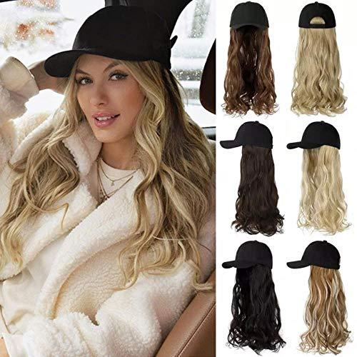Peluca de gorra de bisbol sinttica ondulada larga Pelucas negras Peluca de sombrero sinttico ly Connect ajustable para GirP18 / 22