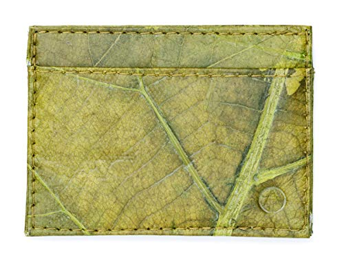 Leaf Leather Slim Wallet - Minimalist Handmade Card and Cash Holder - Green