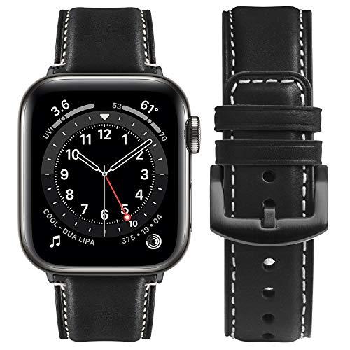 Fullmosa Kompatibel Apple Watch 6 Se Armband 45/44mm,geeignet für iwatch 42mm Series 7/6/5/4/3/2/1, YOLA Lederarmband für Damen Herren, 45/44/42mm Schwarz + Schwarze Schnalle