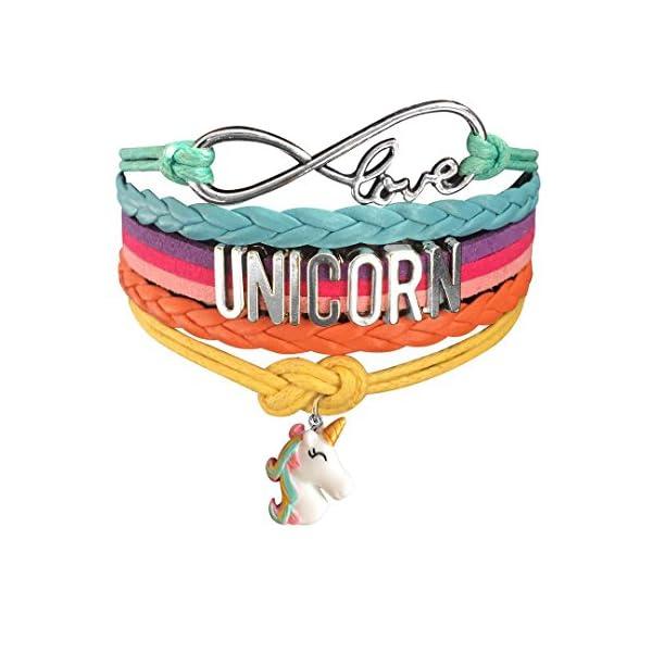Unicorn Gifts for Girls - Unicorn Drawstring Backpack/Makeup Bag/Bracelet/Inspirational Necklace/Hair Ties 5