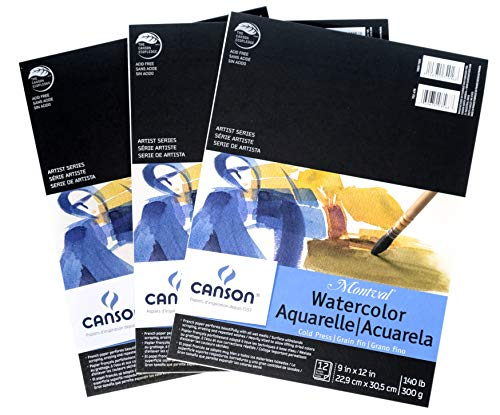 Canson Montval Watercolor Paper Pads 140 lb. Cold Press, 9 in. x 12 in, 12 Sheets per Pad [Pack of 3]