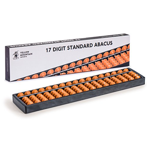Yellow Mountain Imports Digit Standard Abacus - 10.5 Inches - Professional 17 Column Soroban Calculator (Functional and Educational Learning Tool)