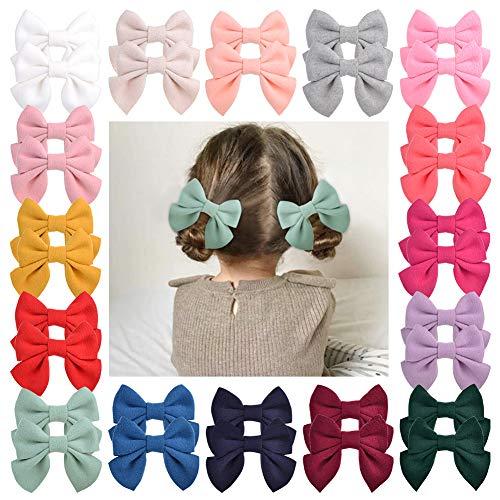 32 Stück Baby Mädchen Haarschleife Krokodilklemmen Samt Haarspangen Haarschmuck für kleine Mädchen Kleinkinder Teenager Kinder