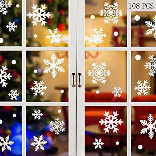 heekpek Fensterbilder Statisch Haftende PVC Sticker Weihnachten Fensterdeko Aufkleber Wandtattoo Wiederverwendbar Mit Bell und Weihnachtskugel (216 Schneeflocken neu)