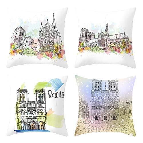 AtHomeShop Juego de 4 fundas de cojín de 50 x 50 cm, de poliéster con dibujo Notre Dame de París, suaves, cómodas, cuadradas, para sofá, dormitorio, decoración, color blanco y negro