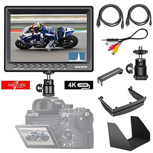 Neewer Monitor Campo F200 Ultra Delgado Pantalla IPS 1080P Full HD 1920x1200 Compatible con 4k Entrada HDMI Histograma Asistente Enfoque Indicación Sobreexposición para Cámara DSLR