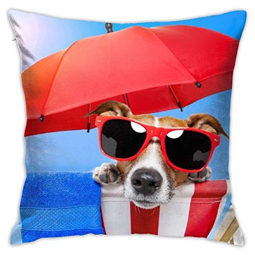 Butlerame Funda de Almohada para Perro, Cachorro, Playa, Gafas de Sol, Paraguas, Cama, sofá, Funda de Almohada, Almohada para Dormir, cojín Suave de 18 'X 18'