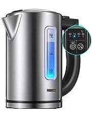 Bouilloire Électrique Thermostat Réglable, PHONECT Bouilloire Électrique Avec 2200W Ebullition Rapide, LED Avec Contrôle de Température Variable, Auto Arrêt, Sans BPA, Niveau Eau Visible, 1.7L