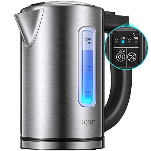 Bollitore Elettrico PHONECT Bollitori In Acciaio Inox con Temperatura Regolabile(50°-100°C), illuminazione a LED, 1.7L, 2200W Ebollizione Veloce, Senza BPA, Spegnimento Auto