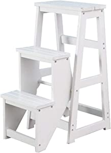 Wtbew-u Folding Steps  Ladder Stool Multifunctional Flip Stairway Chair Climbing High Stool