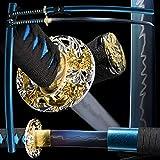 Masukisuki 1060 high Carbon Cold Steel Heat Tempered Full Handmade Hand Forged Japanese Real Authentic Samurai Katana Sword,Full Tang,Functional,Practical,Sharp,Blue