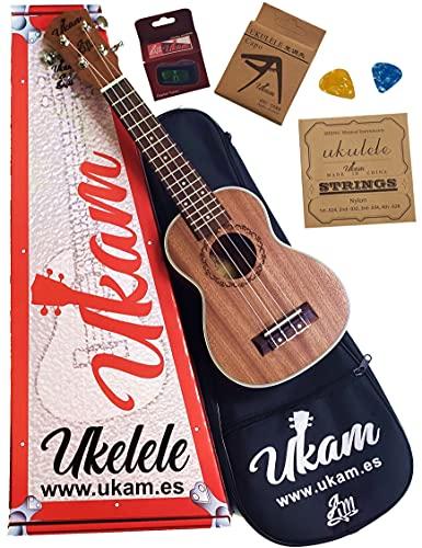 """Ukelele Soprano 21"""" Caoba UKAM mod.AM-BT100, con afinador tipo pinza, cejilla especial ukelele, funda acolchada con correa, juego de cuerdas extra y púas. Pack de iniciación de alta calidad."""