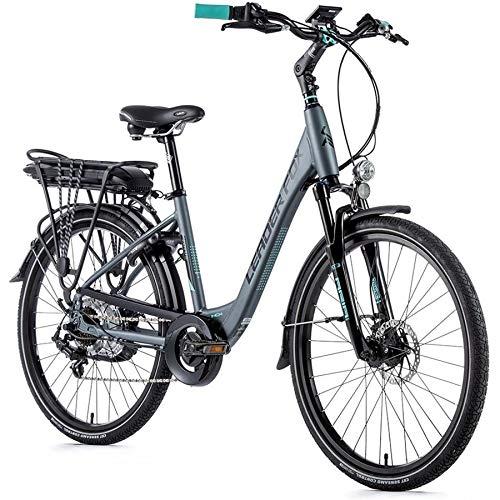26 Zoll Alu Leader Fox Lotus Lady E Bike Damen City Elektro Scheibenbremsen 576Wh grau Rh 50cm