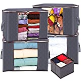 Anyoneer 5 Pack, Extra Large, 24 x 17.7 x 14 inches, Thick Fabric, No Smell, Dust and Moisture out, Strong Handles, Foldable with Sturdy Stainless Steel Zippers, Clear Window-Clothes Storage Bags and Closet Organizer for Comforters, Blankets, Bedding, Clothing, Pillow, Toys, Gray
