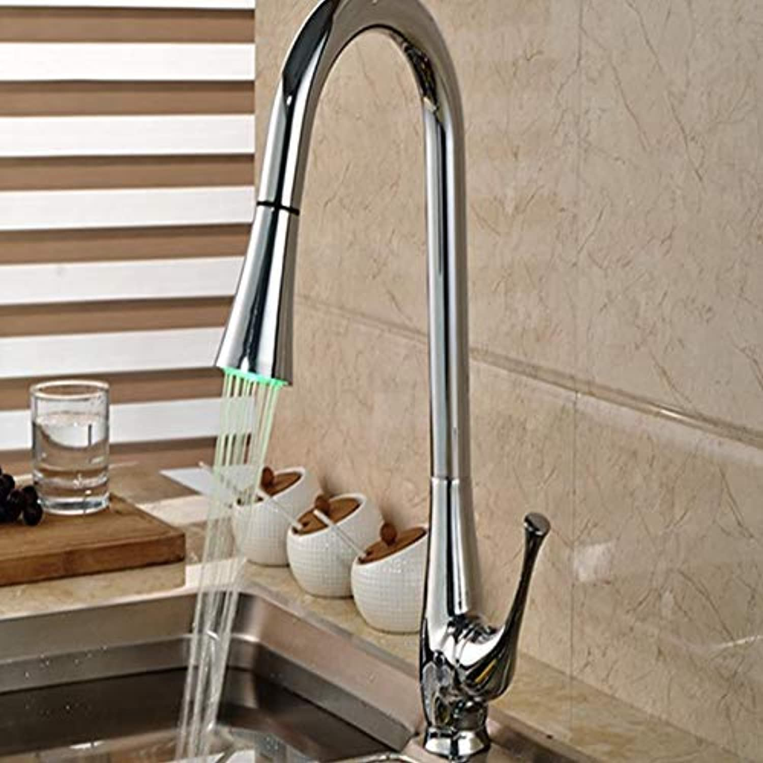 FuweiEncore Wholesale and Retail Led Pull Out Spout Brass Kitchen Faucet Single Handle Hole Vessel Basin Mixer Tap Hot and Cold Water (color   -, Size   -)
