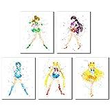 Sailor Moon Watercolor Art Prints - Set of 5 (8 inches x 10 inches) Wall Decor Photos - Sailor Jupiter Mars Venus Mercury