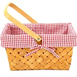 G GOOD GAIN Woodchip Picnic Basket with Folding Handle,Natural Hand Woven Easter Basket,Easter Eggs and Easter Candy Basket,Bath Toy and Kids Toy Storage,Gift Packing Basket.